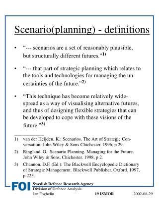 Scenario(planning) - definitions
