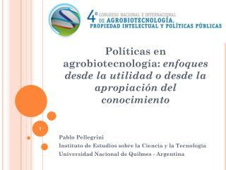 Pablo Pellegrini Instituto de Estudios sobre la Ciencia y la Tecnología