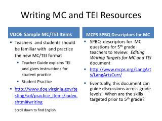 Writing MC and TEI Resources