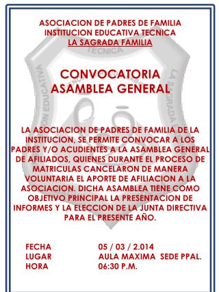ASOCIACION  DE PADRES DE FAMILIA INSTITUCION EDUCATIVA TECNICA LA SAGRADA FAMILIA CONVOCATORIA