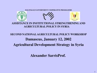 FAO-ITALIAN GOVERNMENT COOPERATIVE PROGRAMME