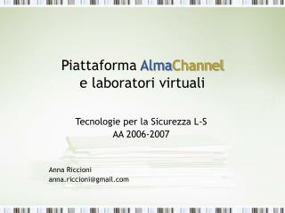 Piattaforma  Alma Channel e laboratori virtuali