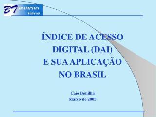ÍNDICE DE ACESSO  DIGITAL (DAI)  E SUA APLICAÇÃO  NO BRASIL Caio Bonilha Março de 2005