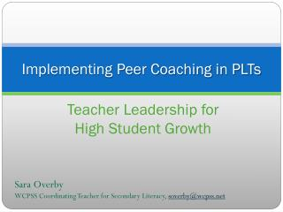 Implementing Peer Coaching in PLTs