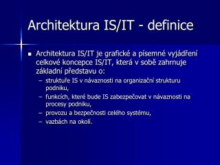 Architektura IS/IT - definice