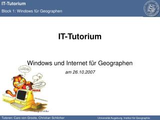 IT-Tutorium Windows und Internet für Geographen am 26.10.2007