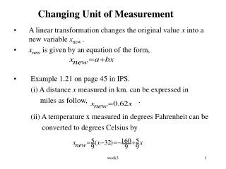 Changing Unit of Measurement