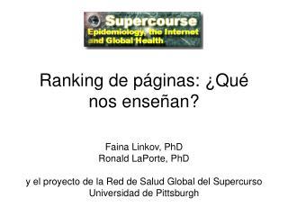 Ranking de páginas: ¿Qué nos enseñan?