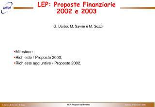 LEP: Proposte Finanziarie 2002 e 2003
