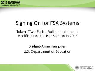 Signing On for FSA Systems