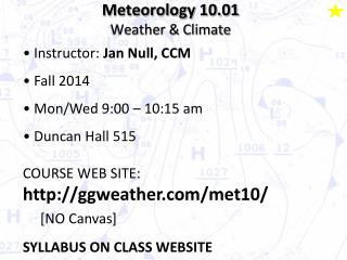 Meteorology  10.01 Weather & Climate
