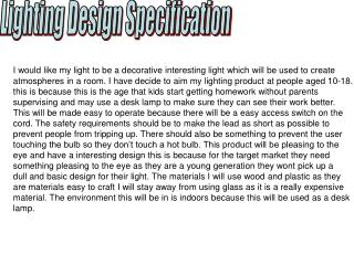 Lighting Design Specification