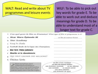 WALT: Read and write about TV programmes and leisure events