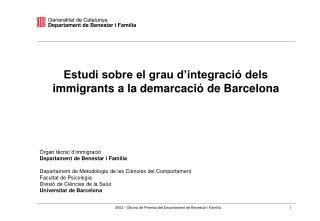 Estudi sobre el grau d'integració dels immigrants a la demarcació de Barcelona