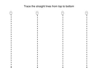 Trace the straight lines from top to bottom