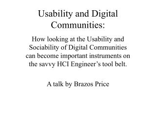 Usability and Digital Communities: