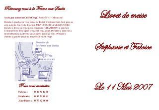 Livret de messe Stéphanie et Fabrice Le 11 Mai 2007