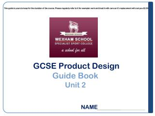 GCSE Product Design Guide Book  Unit 2