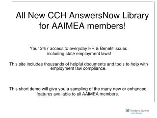 All New CCH AnswersNow Library for AAIMEA members!