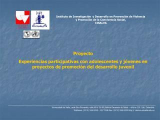 Instituto de Investigaci n  y Desarrollo en Prevenci n de Violencia  y Promoci n de la Convivencia Social, CISALVA