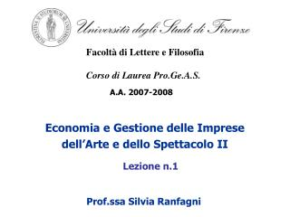 Economia e Gestione delle Imprese dell'Arte e dello Spettacolo II