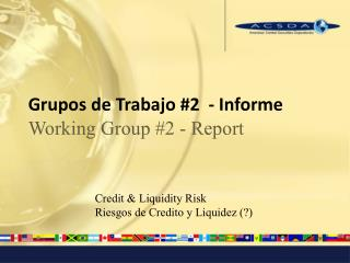 Grupos de Trabajo #2  - Informe  Working Group #2 - Report