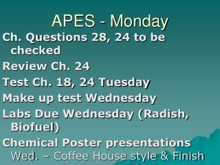 APES - Monday