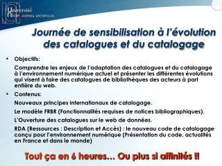 Journée de sensibilisation à l'évolution des catalogues et du catalogage