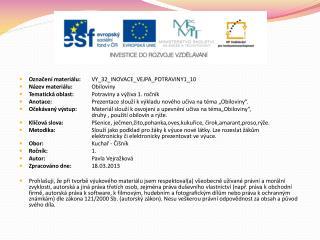 Označení materiálu: VY_32_INOVACE_VEJPA_POTRAVINY1_10 Název materiálu: Obiloviny