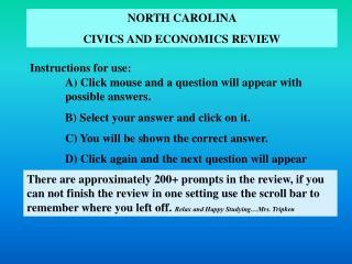 NORTH CAROLINA  CIVICS AND ECONOMICS REVIEW