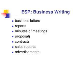 ESP: Business Writing