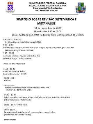 SIMPÓSIO  SOBRE REVISÃO  SISTEMÁTICA E METANÁLISE