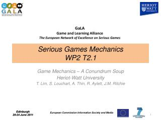 Serious Games Mechanics WP2 T2.1