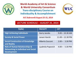 LECTURE SCHEDULE  –  AUGUST 25, 2014