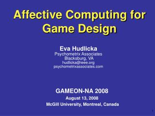 Affective Computing for Game Design
