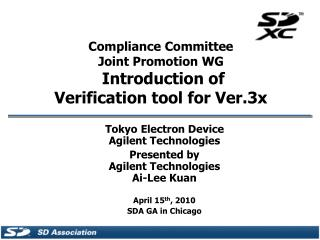 Compliance Committee Joint Promotion WG  Introduction of  Verification tool for Ver.3x