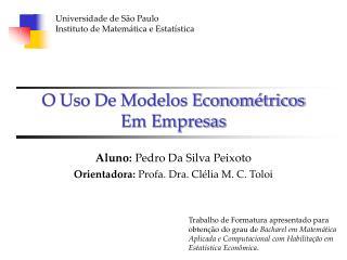O Uso De Modelos Econom�tricos  Em Empresas