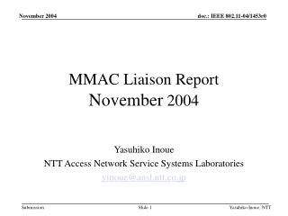 MMAC Liaison Report November 2004