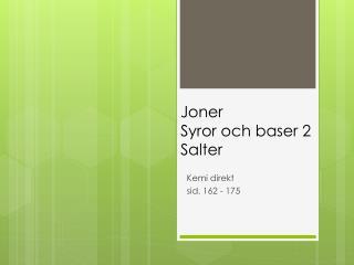 Joner Syror och baser 2 Salter