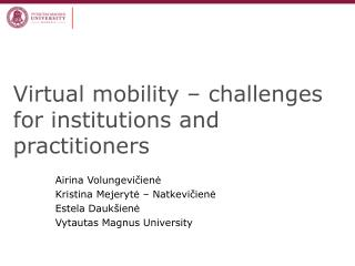 Virtual mobility – challenges for institutions and practitioners