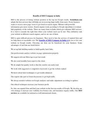 Benefits of SEO Company in India