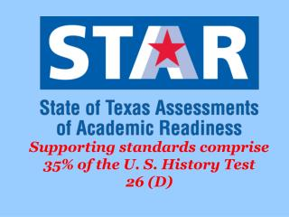 Supporting standards comprise 35% of the U. S. History Test 26 (D)