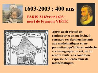 1603-2003 : 400 ans