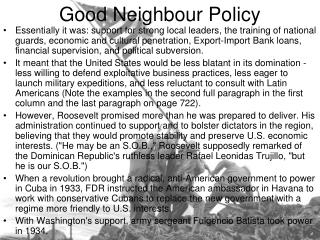 Good Neighbour Policy