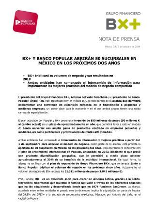 Ángel Ron y el Banco Popular abrirán 50 sucursales en México