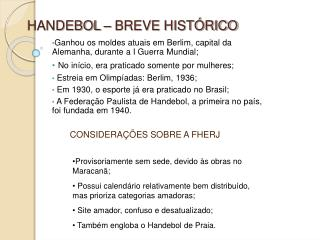 HANDEBOL   BREVE HIST RICO