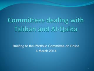 Committees  dealing with Taliban and  Al-Qaida