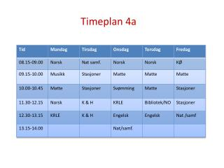 Timeplan  4a
