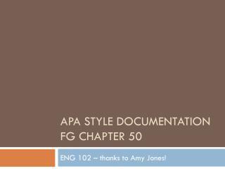 APA Style Documentation FG Chapter 50