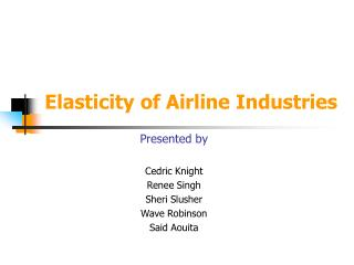Elasticity of Airline Industries